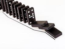 Fallande dominobricka och fallande graf för försäljningar Royaltyfria Foton