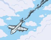 Fallande flygplan Arkivbild