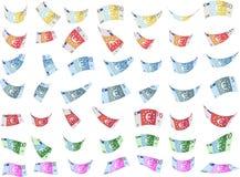 Fallande former för sedlar för efterföljdeuropapper (vektorn) Royaltyfria Bilder