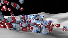 Fallande gåvaanimering för glad jul stock video
