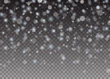 Fallande glänsande härlig snö för snöflingajul på genomskinlig bakgrund Snöflingor snöfall också vektor för coreldrawillustration Royaltyfri Bild