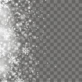 Fallande glänsande snö eller snöflingor på genomskinlig bakgrund vektor Royaltyfria Bilder