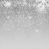Fallande glänsande snöflingor och snö på genomskinlig bakgrund Jul nytt år för vinter Realistisk vektor Arkivfoton