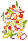 Fallande grönsakingredienser Fotografering för Bildbyråer