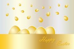 Fallande guld- äggvektor royaltyfri illustrationer
