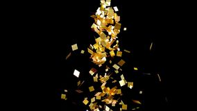Fallande guld blänker foliekonfettier, på svart bakgrund stock illustrationer