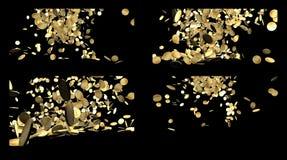Fallande guld- mynt som isoleras på svart Arkivbild