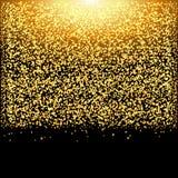 Fallande guld- partiklar för glöd på svart bakgrund Lyxig design Ferie nattklubb, partikort stock illustrationer