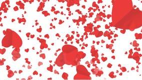 Fallande hjärta i bakgrund för att gifta sig, inbjudan Romantisk valentinbakgrund