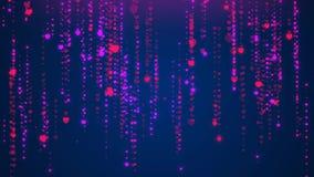 Fallande hjärta som blänker partikelstrimmor som regnar att glöda, blänker partiklar, rörelsebakgrund Livlig video bakgrundögla M