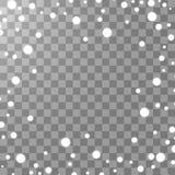 Fallande isolerad snöeffekt för vektor på genomskinlig bakgrund med suddig bokeh stock illustrationer