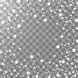 Fallande isolerad snöeffekt för vektor på genomskinlig bakgrund med suddig bokeh vektor illustrationer
