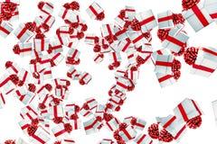 Fallande julgåvaaskar med explosion på vit bakgrund, semestrar festligt royaltyfri illustrationer