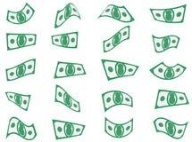 Fallande kassaformer för pappers- pengar arkivfoton