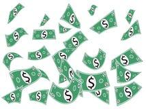 Fallande kontanta pappers- pengar Fotografering för Bildbyråer