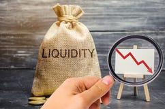 Fallande likviditet och vinst av materiel och investeringar nedg?ng Låg lockelse av kortfristiga insättningar finansiellt arkivbilder