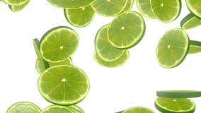 Fallande limefruktskivor