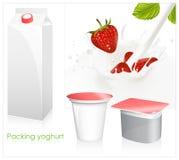 fallande milky röd mogen färgstänkjordgubbe royaltyfri illustrationer