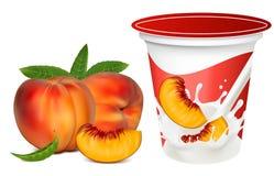 fallande mogen färgstänk för milky persikor vektor illustrationer