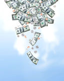 fallande pengar Arkivfoton