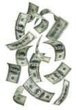 fallande pengar för 100 bills royaltyfri foto