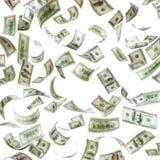 Fallande pengar, hundra dollarsedlar Arkivfoton