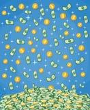 Fallande pengar in i den stora högen av kassa vektor illustrationer