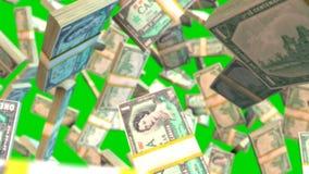 Fallande räkningar för kanadensisk dollar på den gröna skärmen royaltyfri illustrationer