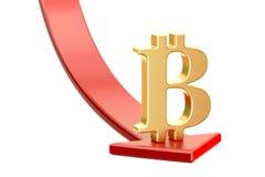 Fallande röd pil med symbol av bitcoin, krisbegrepp 3d ren Arkivbilder