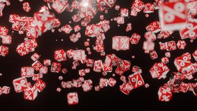 Fallande röda kuber med procenttecknet stock illustrationer