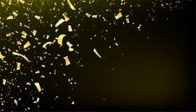 Fallande rörelsebakgrund för konfettier Skinande guld- flygglitter för parti royaltyfri illustrationer