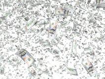 Fallande sedlar som isoleras på vit bakgrund stock illustrationer