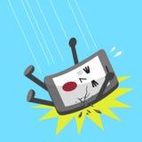 Fallande smartphonetecken för tecknad film Royaltyfri Fotografi
