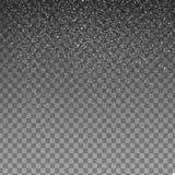 Fallande snö för materielillustration som isoleras på genomskinlig bakgrund Snöflingor snöfall Royaltyfri Fotografi