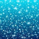 Fallande snö på en blå bakgrund Vektorillustration 10 eps Abstrakt vit blänker snöflingabakgrund Vektormagijul vektor illustrationer