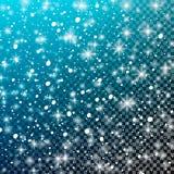 Fallande snö på en genomskinlig blå bakgrund Vektorillustration 10 eps Abstrakt vit blänker snöflingabakgrund Vektormag vektor illustrationer