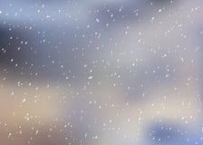 Fallande snö på en suddig bakgrund Vinterbakgrund, julvinterlandskap i blåa skuggor, vektorillustration Arkivfoton