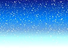 Fallande snö på natten i vinterhimlen Arkivfoton