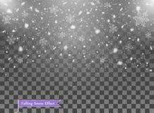 Fallande snö, slumpmässiga beståndsdelar Nytt år juldekorsamkopiering Vektorillustration på isolerad genomskinlig bakgrund stock illustrationer