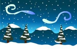 Fallande snö, träd och berg i snön Fotografering för Bildbyråer
