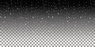 Fallande snöflingor på en genomskinlig bakgrund Snöfallvektorillustration royaltyfri illustrationer