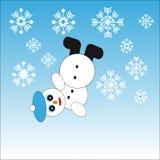Fallande snögubbe på blå bakgrund med snöflingor Royaltyfri Illustrationer