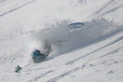 fallande snowboarder Royaltyfria Bilder