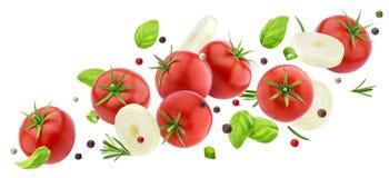 Fallande tomatsallad royaltyfri fotografi