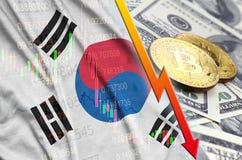 Fallande trend för för Sydkorea flagga och cryptocurrency med två bitcoins på dollarräkningar stock illustrationer