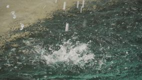 Fallande vatten från en springbrunn, ultrarapidskytte arkivfilmer