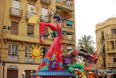 Fallas - colorful funny figures Royalty Free Stock Photos