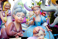 Fallas fest figures on Valencia province. Streets Stock Photos