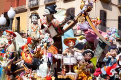 Fallas fest figures on Valencia province. Streets Royalty Free Stock Photos