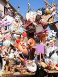 Fallas fest figures on Valencia province. Streets Stock Photos